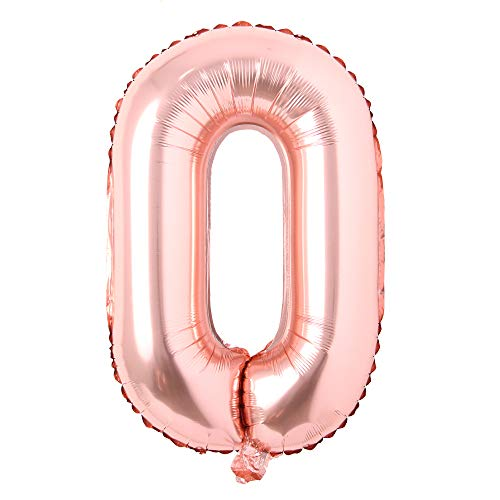 16 inch Single Rose Gold Alphabet Letter Number Balloons Aluminum Hanging Foil Film Balloon Wedding Birthday Party Decoration Banner Air Mylar Balloons (16 inch Rose Gold O)