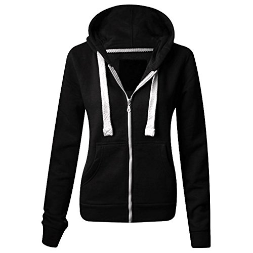 Parsa Fashions ® Ladies Plain Hoodie Womens Long Sleeves Zip Hoodie Zipper TOP Hooded Jacket with Pockets Warm Soft Comfortable and Stretchy