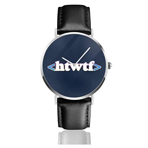Unisex Business Casual Htwtf HTML-Code Uhren Quarz Leder Armbanduhr mit schwarzem Lederband für Männer und Frauen Young Collection Geschenk