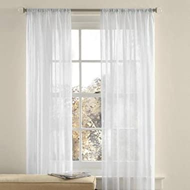 Best Token 2-piece Solid Voile Sheer Curtains Rod Pocket Panels 51 x 84  (White)