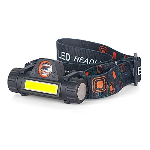 QSMGRBGZ Linterna Frontal, 380 LM Superbrillante, Impermeable, Ligero, COB, Faro, Camping, Faro Ajustable, Montado En La Cabeza, Carga USB(2 PCS)