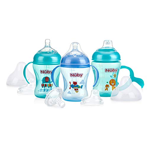 Nuby 3 Piece Natural Touch 3 Stage Wide Neck Breast Size Bottle-to-Cup, Boy