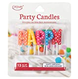 Jacent Polka Dot Happy Birthday Letter Candle Cake Toppers, 13 Count per Pack - 1 Pack