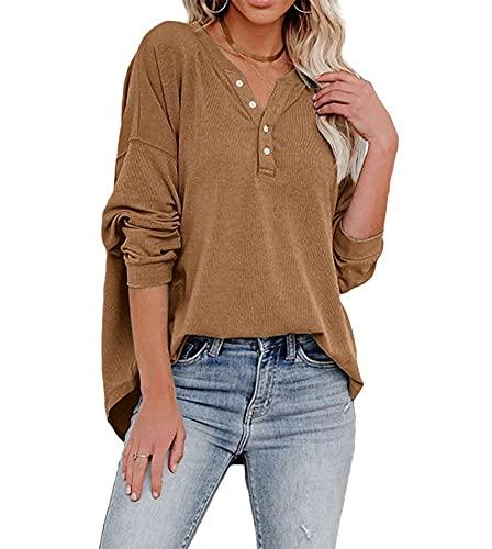Dressmine Women's Long Sleeve V Neck Henley Shirts Button UpSweatshirtsCasualLooseFit Tunic Tops Khaki Small