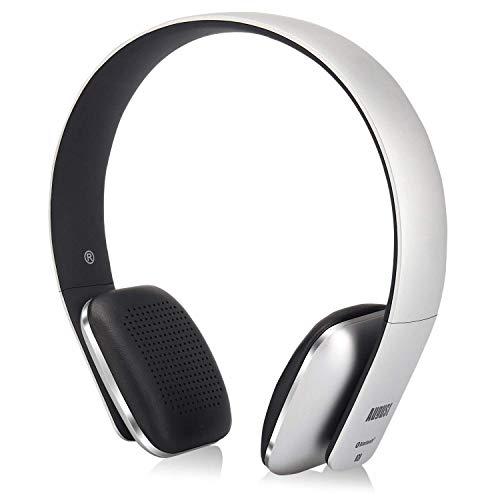August EP636 - Bluetooth v4.1 NFC Kopfhörer - kabellose Bluetooth Stereo Kopfhörer mit Freisprechfunktion CVC6,0 Geräusch- und Echoreduktion und integriertem 14h Akku für Kinder Erwachsene – silber