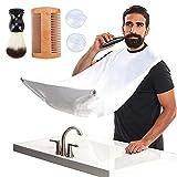 NICENEEDED 5Pcs Beard Catcher Kit para Afeitar Hombres Set, Delantal con Babero para Barba con Fuertes Ventosas, Receptor de Pelo para Barba con Cepillo para Barba