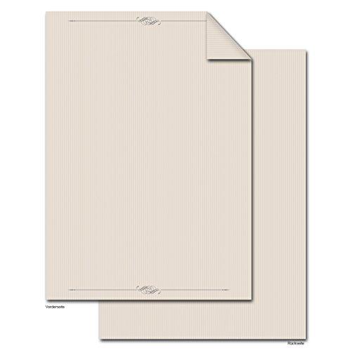 50 Blatt Briefpapier Druckerpapier beige creme-farben braun natur GESTREIFT ORNAMENT beidseitig bedruckt 100g Schreibpapier Motiv-Papier DIN A4 Brief-Bogen alt wirkend