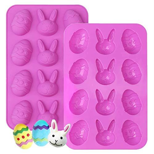 Ytbozjw - Molde de 12 cavidades de Chocolate de Pascua 3D, Molde de Silicona para decoración de Tartas, Cubitos de Hielo, Charola de Dulces, Galletas Pudín Azúcar Manualidades 2 PCS
