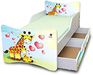 Best For Kids CHILDREN S BED with foam mattress with T V CERTIFIED 90x200 WITH TWO DRAWERS DESIGNS     children     giraffes