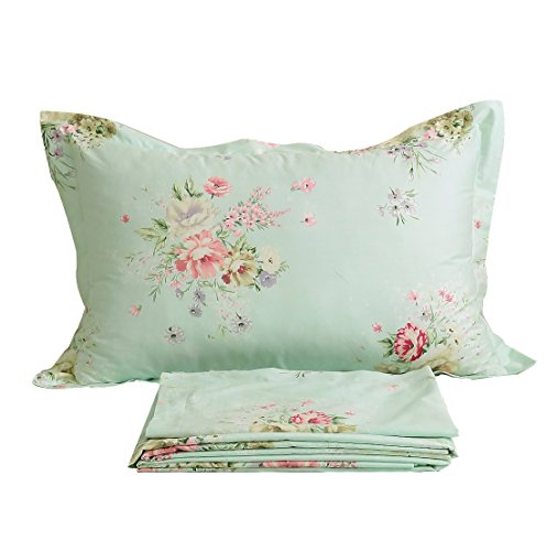 FADFAY Bed Sheet Set Green Floral Cotton Sheets 4-Piece Twin Size