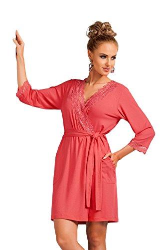 Selente Sweet Dreams Damen Nachthemd (Made in EU) ohne Ärmel, mit Langen Ärmeln oder passender Morgenmantel, Gr. 44, Morgenmantel Koralle
