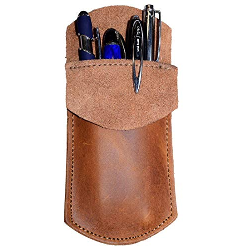 Hide & Drink, Durable Leather Pocket Protector, Pencil Pouch, Pen Holder, Office & Work Essentials, Handmade Includes 101 Year Warranty :: Single Malt Mahogany