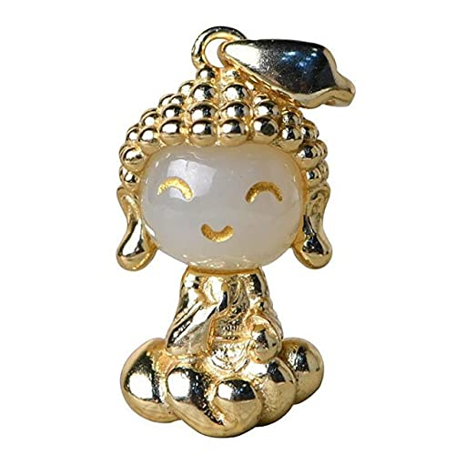 DAJIA Colgante de Buda pequeño Chapado en Oro Plateado, Colgante de Buda Tibetano de Jade Natural, Colgante de señora, Amuleto Budista de la Buena Suerte