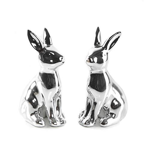 Logbuch-Verlag 2 pequeñas figuras de conejo de Pascua de porcelana plateadas de 10 cm – Decoración moderna de Pascua para colocar de pie – Figura de conejo de Pascua como regalo de Pascua