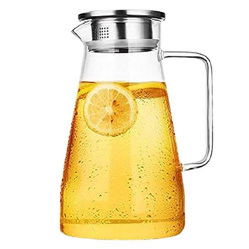 THEE Glas Krug Glaskrug Wasserkrug Saftkrug Kühlschrankkrug Karaffe aus hitzebeständigem Borosilikatglas mit Filter