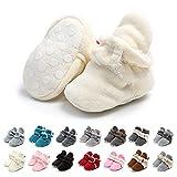 Botas de Niño Calcetín Invierno Soft Sole Crib Raya de Caliente Boots de Algodón para Bebés (0-6 Meses, Blanco, Tamaño de Etiqueta 11)