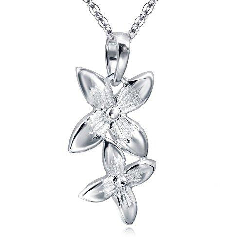 MATERIA Blumen Anhänger Silber 925 PRIMULA - Damen Kettenanhänger lang rhodiniert inkl. Etui #KA-296