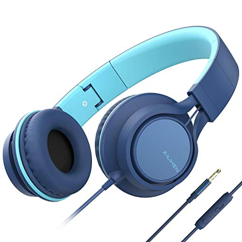 AILIHEN C8 (Upgraded) Headphones with Microphone and Volume Control Folding Lightweight Headset for Cellphones Tablets Smartphones Chromebook Laptop Computer PC Mp3/4 (Indigo) (Renewed)