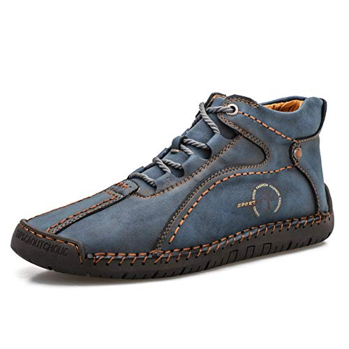Dacomfy Mens Casual Shoes Loafers Leather Driving Shoes Hand Stitching Ankle Boots Slip On Outdoor Flats Oxford Shoes