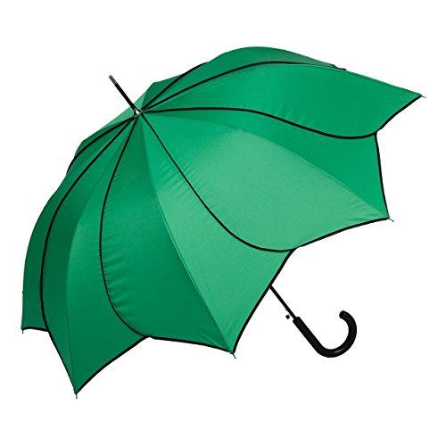 VON LILIENFELD Regenschirm Damen Sonnenschirm Hochzeitsschirm gedrehte Blütenform: Minou grün mit schwarzen Ziernähten