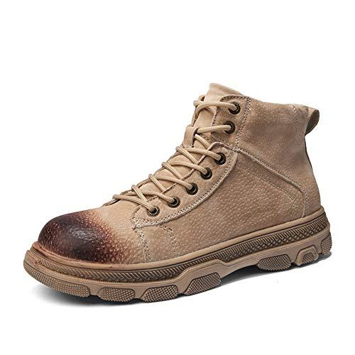 GYYY Botas de Combate para Hombres Zapatos de Tobillo Lace Up Real Cuero Impermeable Fleece Transpirable Coloreado Estilo Badillo Lug Sole Outdoor (Color : Sand, Size : 41 EU)