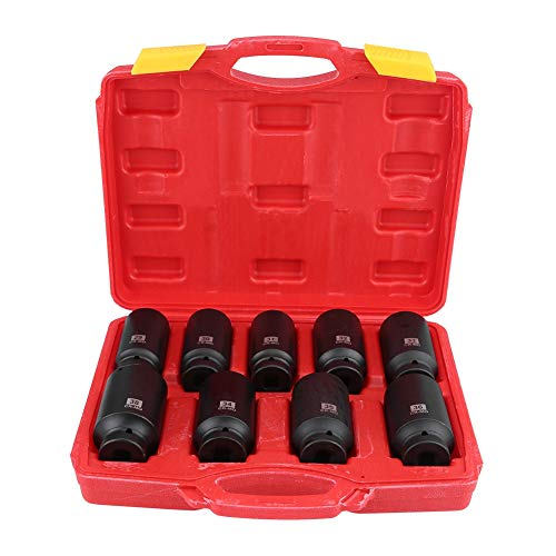 9pcs 1/2-Inch Drive Axle Hub Nut Hex Socket Set Impact Metric Socket Set Standard 29mm 30mm 31mm 32mm 33mm 34mm 35mm 36mm 38mm Impact Practical Tool with Carrying Case for Vehicle Installation Remov