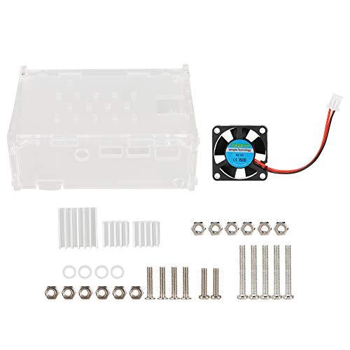 DaMohony Carcasa acrílica de 5 V ventilador de refrigeración 3 disipadores de calor soporte de cámara para Raspberry Pi 4B, fácil de instalar