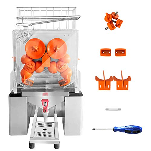 Commercial Orange Juicer Machine, Unique Faucet Design,110V 120W Automatic Citrus Juicer, Electric Orange Juice Squeezer Lemonade Making Machine, Heavy Duty, Large Feeding Slot, Clear Cover