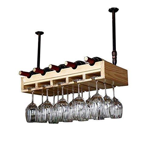 CAIJINJIN estante del vino Suspendido estante del vino del metal for el estante del vino, vino retro Europea bastidor en madera maciza con soporte de vidrio for la cocina/bar Almacenamiento