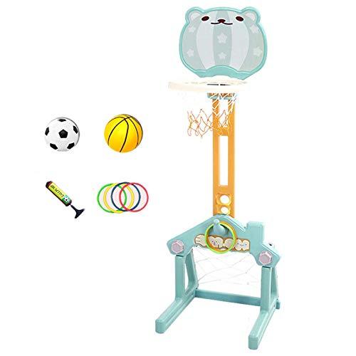 Basketball Hoop Canasta Baloncesto Infantil, 3 en 1 Altura Ajustable Canastas de Baloncesto para Casa, Juegos de Pelota al Aire Libre con Portería de Fútbol (Color : Blue)