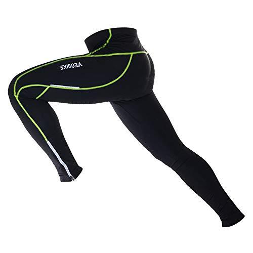 N+A d.Stil Herren Fahrradhose Lang Radsport-Leggings Radlerhosen mit 3D gepolsterte Radhosen Atmungsaktiv Schnell Trocknend Elastisch Radsport Hosen für MTB und Lauf M-3XL (Grün, L)