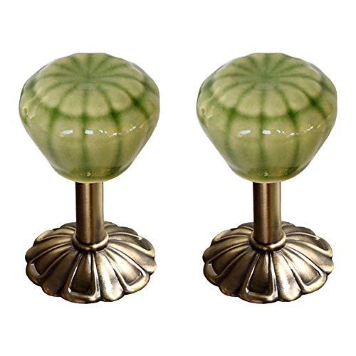 EleCharm Curtain Holdbacks Creative Ceramic Head Drapery Holdbacks Medallion Wall Hooks (Jade Green)