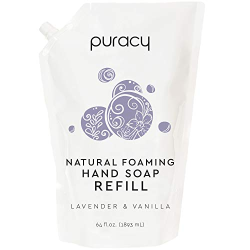 Puracy Natural Foaming Hand Soap Refill, Lavender & Vanilla, Sulfate-Free Hand Wash Foam, 64 Ounce