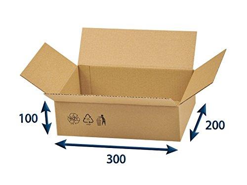 25 x Versandkartons (Faltschachteln, Faltkarton, Wellpappkarton, Wellpappfaltkarton, Kartons), 3-Sicht, 300x200x100mm