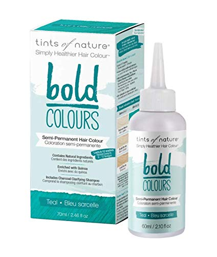 Tints of Nature Bold Teal, Vegan Semi Permanent Natural Hair Dye, Ammonia, PPD, Parabens, Silicone and Sulfates Free, Single