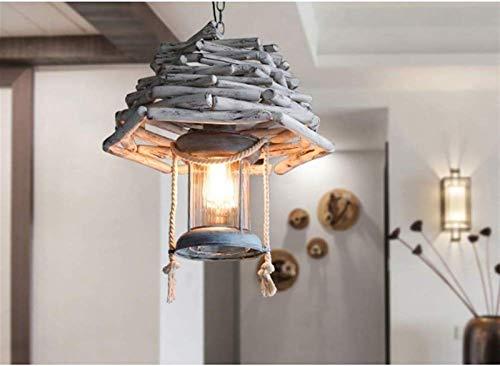 Lmpara colgante de madera mediterrnea Casa de campo Araa de madera Lmpara de araa Iluminacin Techo Colgante Luz Luz de hierro forjado E27 Linterna Antigua Retro para la cocina Isla Comedor Sala