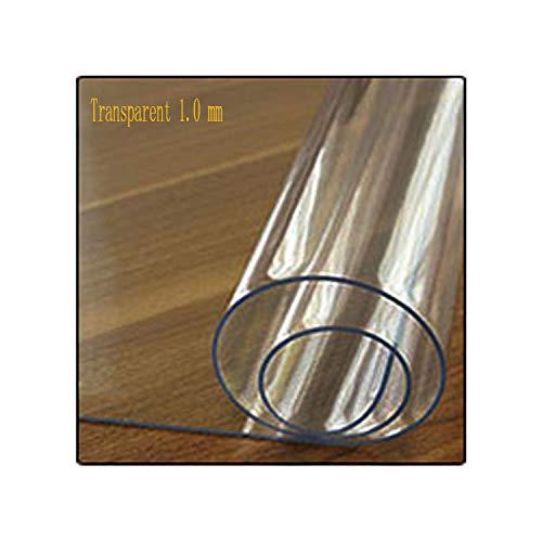 KenFandy PVC-Tischdecke transparente Tischdecke Abdeckung wasserdichte Küche Muster Öltischdecke Glas weicher Tuch-1.0mm, Klar, 60X140Cm