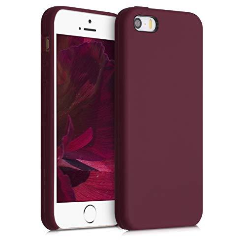 kwmobile Carcasa Compatible con Apple iPhone SE (1.Gen 2016) / 5 / 5S - Funda de Silicona para móvil - Cover Trasero en Rojo Vino