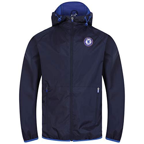 Chelsea FC Officiel - Coupe-Vent/Imperméable thème Football - Homme - Bleu Marine/Capuche à visière - L