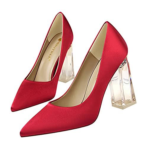 TXPCLNN Zapatos de Tacón de Aguja con Punta Puntiaguda para Mujer, Zapatos...
