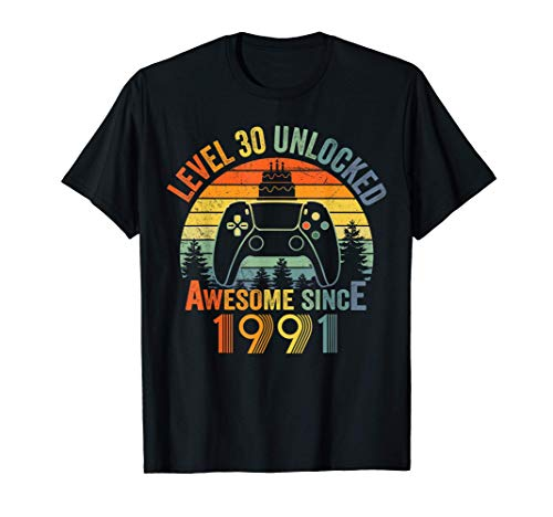 Level 30 Unlocked Video Gamer 30 Years Old 30 Birthday Gifts T-Shirt