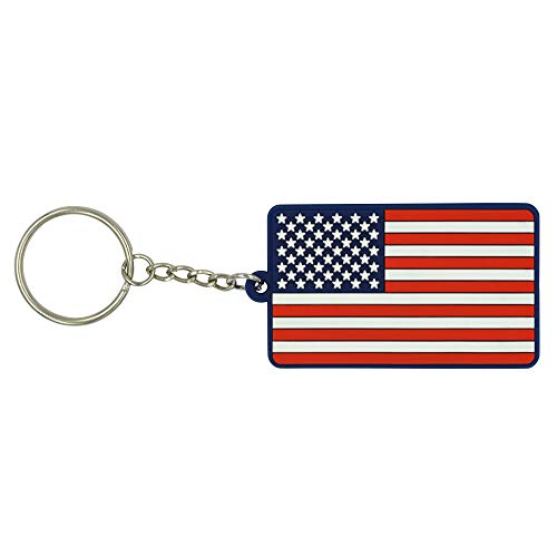 Great 1 Products American Flag Keychain with Key Ring - Soft PVC Rubber - Keys, Cars, Motorcycles, Backpacks, Luggage, and Gifts - EDC (Red White Blue)