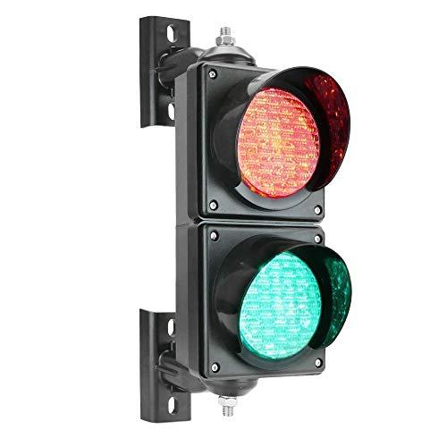PrimeMatik - Ampel für Innen- und Außenbereich IP65 schwarz 2 x 100mm 220V mit grün und rot LED leuchtet