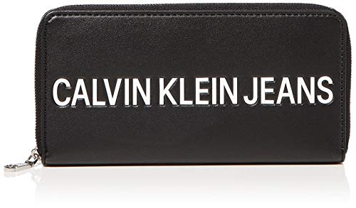 Calvin Klein Damen Sculpted Zip Around Umhängetasche, Schwarz (BLACK), 10x19x2.5cm