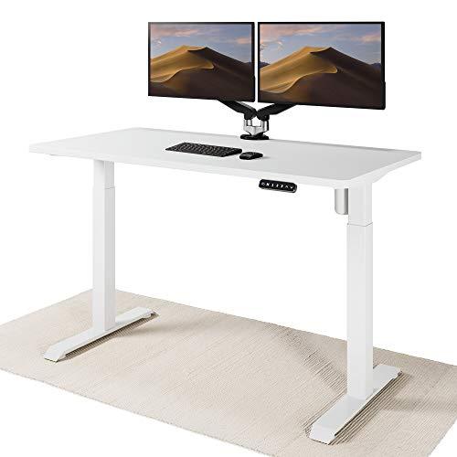 Desktronic Elektrisch Höhenverstellbarer Schreibtisch - Bequem und Schmerzfrei von Zuhause Arbeiten – Schreibtisch Höhenverstellbar (Weißes Gestell + 140x70 Weiße Tischplatte)