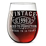 Vintage 1990 Etched 17oz Stemless Wine Glass - 30th Birthday Aged to Perfection - 30 years old gifts