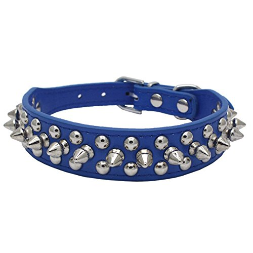 Avenpets Collar de perro de cuero con pinchos y tachuelas para actividades diarias, azul oscuro, S: (cuello 11-13 pulgadas)