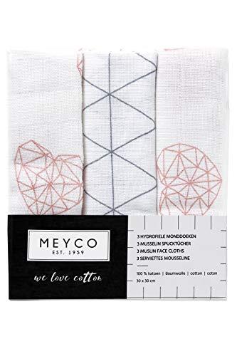 Meyco 457012 Mull/Musselin Spucktücher 3er Set, 30x30cm GEOMETRIC HEART-TRIANGLE Altrosa-Grau-Weiss