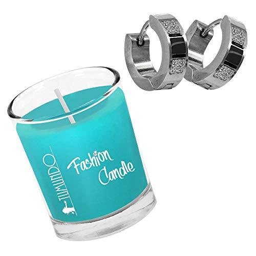 Schmuck-Kerze Creolen Hoop Huggie Tumundo Fashion Candle Türkis Klappcreolen Ohr-Ringe Stecker Edelstahl Duft-Kerze, Farbe:Schwarz+Silbern