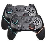 コントローラー 複数の選択肢のBluetoothワイヤレスプロコントローラリモートゲームパッドコンソール用PC Controleジョイスティック SYMJP (Color : 2pc Blue, Size : 1)